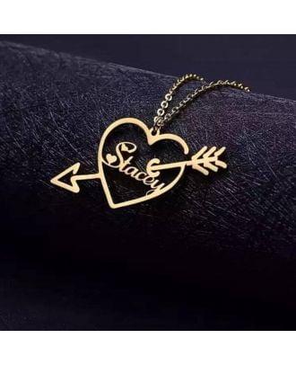 Ouro feito sob encomenda / ouro branco / rosa banhado a ouro colar com coração