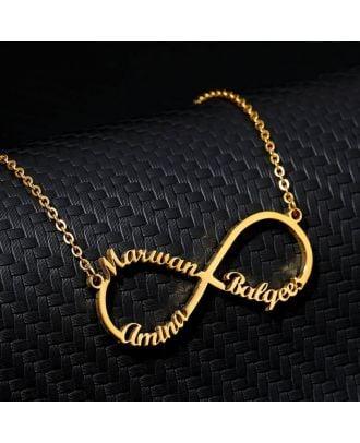 Tilpasset guld / hvidguld / rose forgyldt infinity halskæde med 1 navn - 4 navne