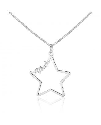 Custom Made Gold / White Gold / Rose Gold Plated Star Style Name Necklace