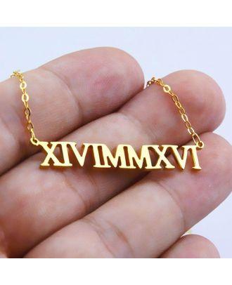 Brugerdefineret guld / hvidguld / rose forgyldt romersk tal halskæde