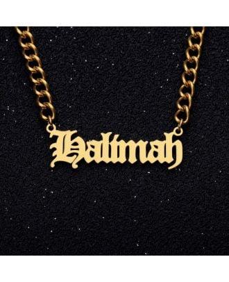 Colar com nome em inglês antigo personalizado em ouro / ouro branco / rosa banhado a ouro
