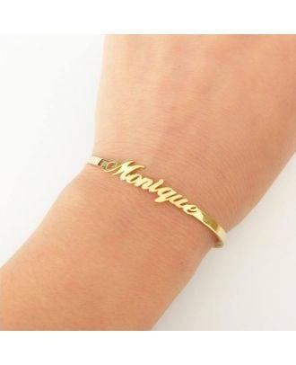 Bracelete com nome personalizado em ouro / ouro branco / rosa banhado a ouro