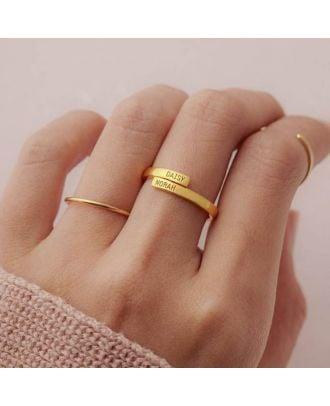 Anel gravado nome personalizado com ouro / ouro branco / rosa banhado a ouro