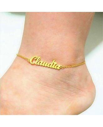 Tornozeleira com nome personalizado em ouro branco / ouro rosa / banhado a ouro
