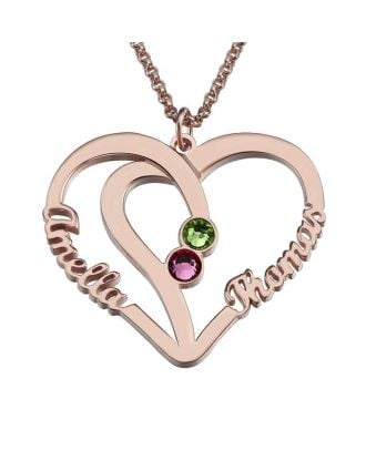 Customized Sterling Silver 925 Name Heart Necklace With 2 Birthstones and 2 Names