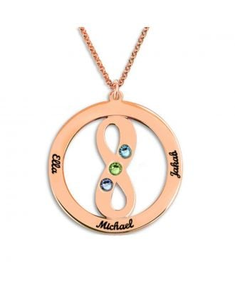 Personalized Sterling Silver 925 Family Infinity Necklace With Birthstone