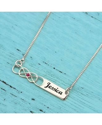 Custom Sterling Silver 925 Infinity Heart Engraved Necklace