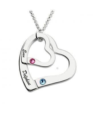 Customized Sterling Silver 925 Family Engraved Heart Necklace With Birthstone