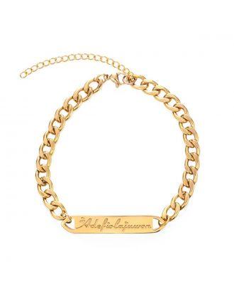 Prata personalizada / ouro / rosa banhado a ouro bar pulseira