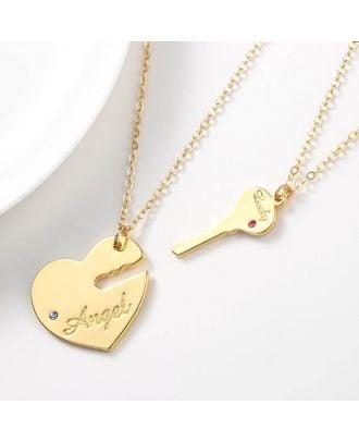 Rosa feito-à-medida ouro / ouro / colar chapeado prata coração gravado