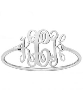 Prata personalizada / ouro / rosa banhado a ouro inicial pulseira monograma