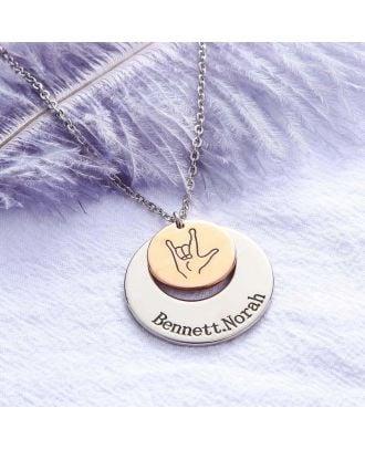 Colar gravada banhada a ouro personalizada / prata / rosa banhada a ouro