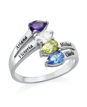 Personalized Sterling Silver 925 Engraved Ring With 4 Birthstones and 4 Names