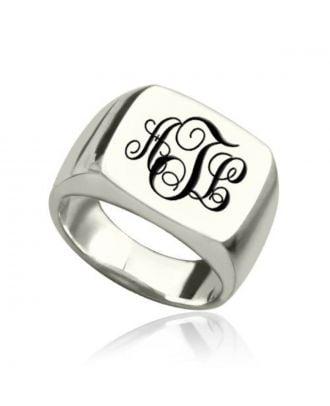 Brugerdefineret sterling sølv 925 Monogram 3 initial mænds bryllup ring