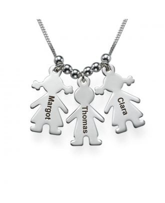 Personalised Sterling Silver 925 Engraved Family Necklace With 1 - 3 Figure