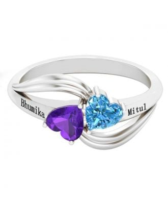 Custom Sterling Silver 925 Engraved Engraved Ring With Birthstone