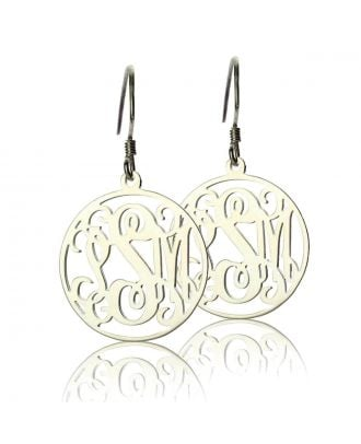 Personalized Sterling Silver 925 Monogram 3 Initial Disc Design Earrings