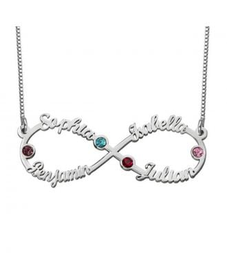Custom Made Copper / Sterling Silver 925 Infinity Name Necklace With Birthstone