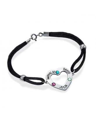 Personalized Sterling Silver 925 Engraved Heart Bracelet With Birthstone