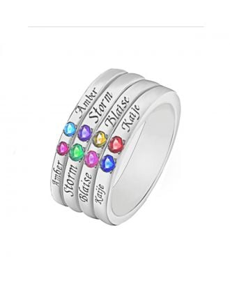 Custom Sterling Silver 925 Engraved Family Ring With 8 Birthstones