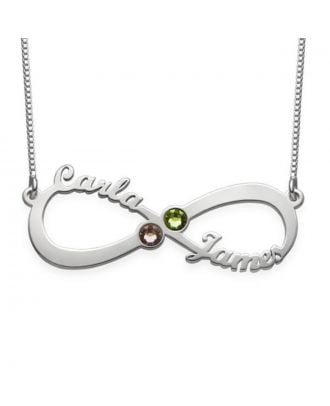 Custom Copper / Sterling Silver 925 Infinity Name Necklace With Birthstone
