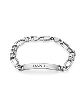 Customized Sterling Silver 925 Engraved Bar Bracelet