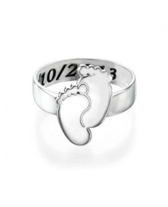 Prispôsobený strieborný gravírovaný prsteň 925 s pôdorysom