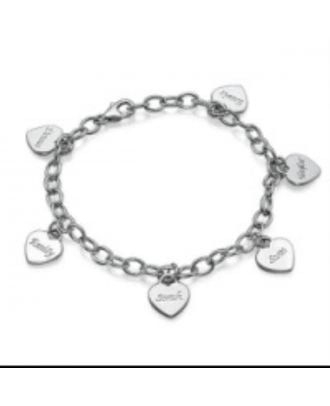 Custom Made Sterling Silver 925 Engraved Heart Bracelet