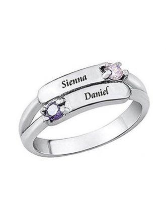 Anel gravado personalizado da promessa do noivado da prata esterlina 925 com Birthstone
