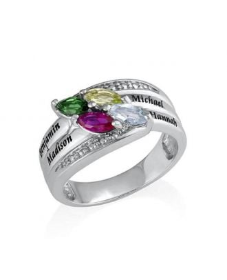 Vlastné Sterling Silver 925 ryté rodinný prsteň so 4 kameňmi