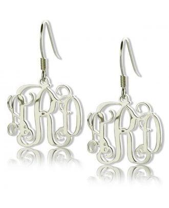 Customized Sterling Silver 925 Monogram 3 Initial Earrings For Girls