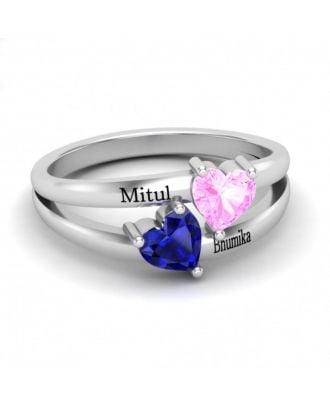 Custom Made Sterling Silver 925 Engraved Ring With 2 Birthstones