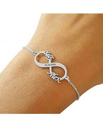 Custom Sterling Silver 925 Engraved Infinity Name Bracelet