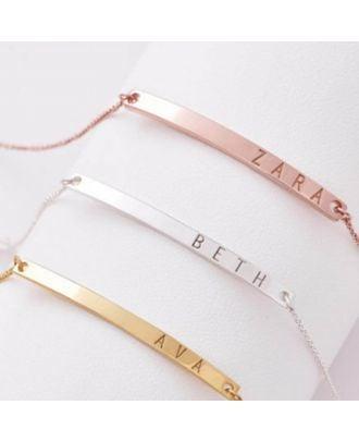 Prata esterlina personalizada 925 gravada Bar colar de corrente