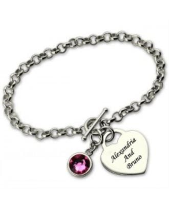 Custom Sterling Silver 925 Engraved Infinity Bracelet With Birthstone