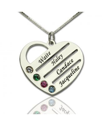 Personalised Sterling Silver 925 Engraved Heart Necklace With Birthstone