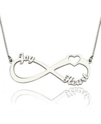 Customized Sterling Silver 925 Infinity Heart Necklace