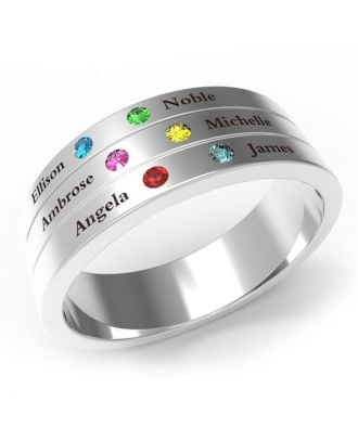 Personalized Sterling Silver 925 Engraved Family Ring With 6 Birthstones