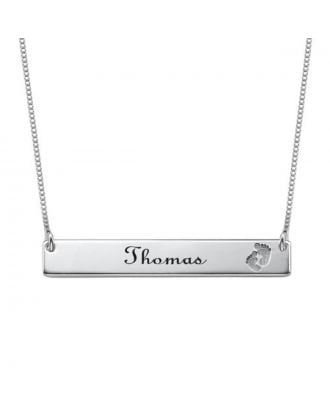 Prata esterlina feito-à-medida 925 / colar gravada cobre da barra com pegada
