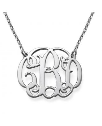 Custom Copper / Sterling Silver 925 Monogram 3 Initial Chain Necklace