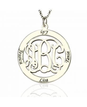 Personalised Sterling Silver 925 Family Engraved Monogram Initial Necklace