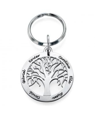 Custom Made Sterling Silver 925 Engraved Family Tree Key Chain