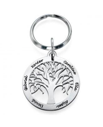 Prata esterlina feito-à-medida 925 árvore genealógica gravada chaveiro