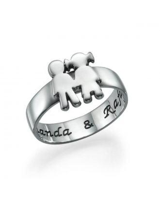 Anel de prata esterlina 925 personalizado para casal
