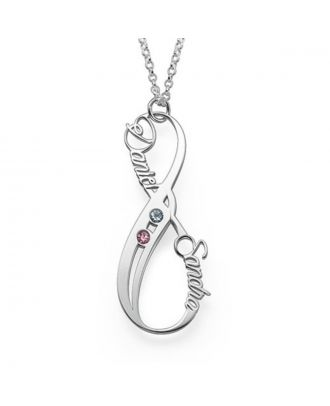 Custom Made Copper / Sterling Silver 925 Family Engraved Infinity Necklace With Birthstone