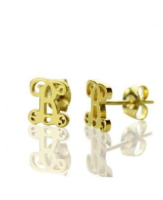 Custom Sterling Silver 925 Monogram Initial Earrings For Women