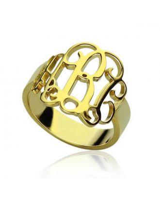 Personaliseret sterling sølv 925 monogram 3 initial ring