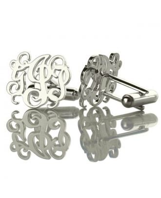 Customized Sterling Silver 925 Monogram Initial Hollow Cuffs