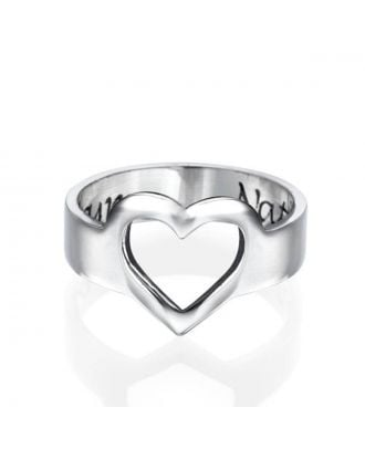 Customized Sterling Silver 925 Heart Engraved Ring