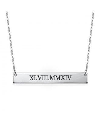 Colar gravada personalizada da barra 925 do cobre / prata esterlina